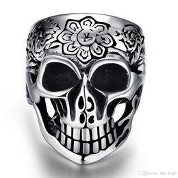 Wholesale Skull Punk Ring Black - 316L Stainless Steel Jewelry Silver Black Flower Vintage Punk Skull Retro Cool Men's Ring Size 8-12 Halloween Gift for Boy