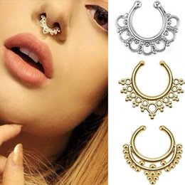 Wholesale Trendy Top Sale - Top sale fake nose ring jewelry fake septum Piercing clicker faux clip non piercing ear Hoop For Women wholesale