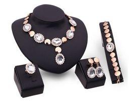 Wholesale Diamond Drop Beads - Women Wedding Bridal Sapphire Beads Collares Jewelry Sets Drops Pendant Statement Crystal Necklace Earrings Ring Bracelet Set XS