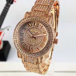 Wholesale Gold Diamond Bands - Hot Luxury watches Women Watch Top Brand Diamond Dial Band Roman numerals Quartz Watches For girls Ladies Designer Wristwatch free shipping