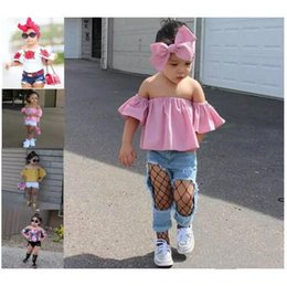 Wholesale Yellow Striped Tank - Baby Girls Clothes Summer Kids Off Shoulder Tank Tops +Short Pants Outfits Children Girl Clothing Set B11