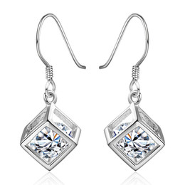 Wholesale Brass Jewerly - 925 Jewerly Silver Plated Vintage Hollow Cubic Drop Earrings with Shining Free-moving Ellipsoid Zircon Romantic Women Fashion Jewelry