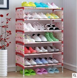 Wholesale Shoes Rack Shelf Organizers - Shelf Shoes Holders Storage Easy Assembled Non-woven 7 Layer Shoe Rack Shelf Storage Organizer Stand Holder Room Decoration Free Shipping
