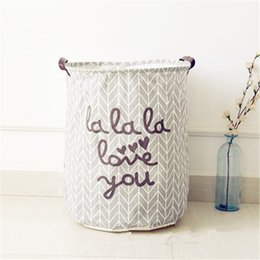 Wholesale Fabric Baskets Handles - Enlarged Cotton Fabric Laundry Storage Basket Dirty Clothes Kids' Toys Storage Basket Barrels With Handle (gray)