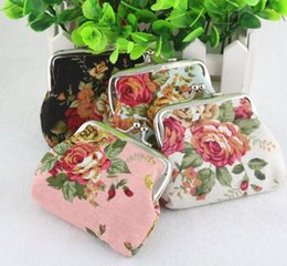 Borse della moneta del fiore borse dei sacchetti online-Fashion Hot Women Coin Wallet Purse Coins Bag Vintage flower coin purse canvas key holder wallet hasp small gifts bag clutch handbag