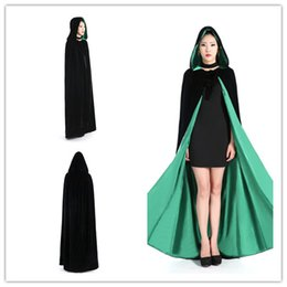 Wholesale Perfect Ribbon - Cheap Faux Fur Halloween Hooded Cloaks Fashion Women Black Green Shawls Perfect For Winter Medieval Long Costumes Wraps