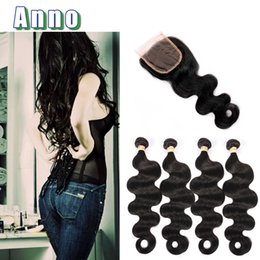 Wholesale Mix Deals - Malaysian Body Wave With Closure 8a Virgin Malaysian Hair 4 Bundle Deals With Closure Queen Weave Beauty Closure