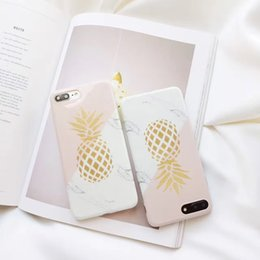 Wholesale Texture Phone - Gold Pineapple Phone Case For iphone 6 Marble Texture Geometric Splice Case For iphone 6 6s 7 Plus Soft IMD Back Cover Capa