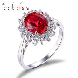 Wholesale Princess Kate Tiara - Luxury Brand Women Kate Princess Diana Engagement Wedding Gem Stone Red Ruby Ring Sets Pure Solid Genuine 925 Sterling Silver