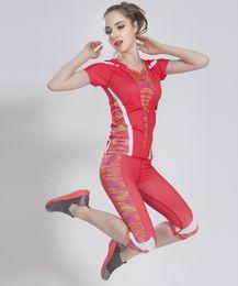 Wholesale Women Workout Tights - Wholesale-Yoga Suit Women Gym Fitness Yoga Sets Sportwear Running Sports Tights Women Yoga Shirts Pants Workout Clothing Sport Suit