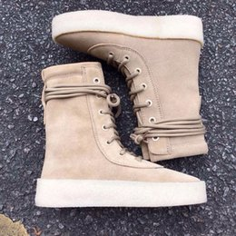 Wholesale Size 45 Boots - New 2016 Kanye West Season 2 Crepe Boot New Boot High Cut Made in Spain with box fashion sneakers Men women boot size 36-45