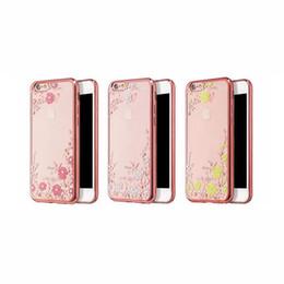 Canada Jardin Secret Avec Fleurs Strass Cas de Téléphone Rose Plaqué Or TPU Retour Housse De Cas Pour iPhone X 7 6 6 S Plus 5S SE Offre