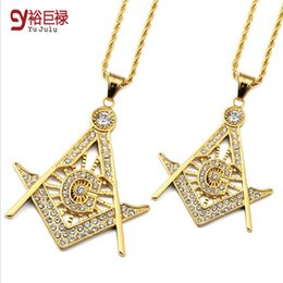 Wholesale Long Necklaces For Men - 2016New Steel Acted the Role Free Mason Masonic Hip Hop Necklace Pendant Jewelry 18K Long Gold Necklace Chain for Men Women