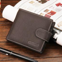 Wholesale Card Cash Wallet - Mens Vintage Look Buckles PU Bifold Wallet Travel Cash Hasp Case Black Coffee Brown Sewing Look A089