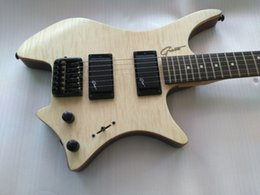 Wholesale Headless Electric Guitars - Custom Strandberg Boden OS 6 String Natural Quilt Maple Top Headless Electric Guitar KD Patent Tremolo Bridge Black Hardware
