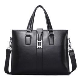 Wholesale Laptop Bag 17 Handle - Wholesale- PU Leather Men's Briefcase Business Men Black Handbag High Quality Messenger 14inch Laptop Bag Men's Totes Portfolio bolsa -17