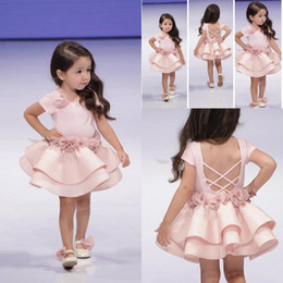 Wholesale Cupcakes Christmas - Pink Toddler Girls Pageant Dresses Children Cupcake Gown Criss Cross Straps Handmade Flowers Knee Length Flower Girls' Dresses For Weddings