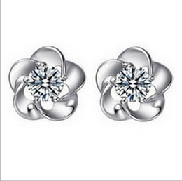Wholesale Plum Blossom Flower Earring - 2016 Fashion Silver Blossoming Plum Zircon Earrings Stud Earrings Wedding Jewelry the high-end fashion women stud earrings