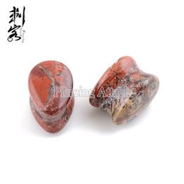 Wholesale Red Tunnel - 2016 New Style Jasper Teardrop Stone Ear Plugs Ear Piercing