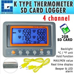 Wholesale Thermometer Temperature Logger - 88598 Portable Wallmount Digital 4 Channel -328~2498 degree F C K Type Thermocouple 2GB SD Card Temperature Thermometer Logger