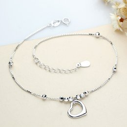Wholesale Christmas Bracelets For Girls - 100% 925 Sterling Silver Heart Anklets For Women Classic Trendy Fashion Romantic Party Jewelry Brand Style Pretty Anklet Bracelets Free Ship