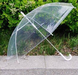 Wholesale Transparent Clear Umbrella Wholesale - 6 Color Automatic Transparent Rain Umbrellas Parasol For Wedding Clear PVC Beach Umbrellas Long Handle Umbrellas Rainproof 100PCS LOT JJA11