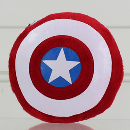 Wholesale Captain America Shield Pillow - The Avengers Movie Captain America Attack Shield Plush Toys keychain hanging drop Cushion Pillow Toy 12cm Free Shipping