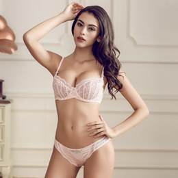 Wholesale Women Transparent Bows - Wholesale-French Women Underwear lingerie Pink Lace Bra Set Gauze Plus Size Sexy Transparent Bra And Panty Set 32-38 C D ultrathin Cup