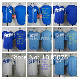 Wholesale Baby Blanks - 2016 Men's New Kansas City Royals Customized Blank Jersey, Blue White Baby Blue 2016 Personalized baseball jerseys Drop Shipping Top Qu