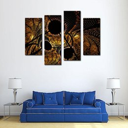 Wholesale Black Circle Picture - 4 Picture Combination Abstract Circles Black Yellow Wall Art Painting On Canvas Abstract The Picture For Home Modern Decoration
