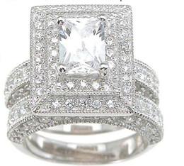 14kt ювелирные изделия из белого золота онлайн-Профессиональный Оптовая старинные ювелирные изделия Топаз имитация алмазов 14KT белого золота заполнены 3-в-1 обручальное кольцо набор для рождественский подарок Sz 5-10