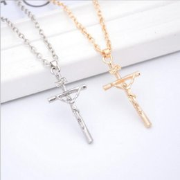 Wholesale Europe Christian - Christian Cross necklace pendant Clavicle chain Alloy Gold Silver Fashion sweater chain Silver necklace Europe and the United States