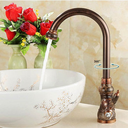 Wholesale Antique Copper Sink Basin - Jade Kitchen Sink Faucets Copper Black Single Hole Kitchen Tap Oil Rubbed ORB Brass Jade Faucets Antique Sink Basin Water Taps
