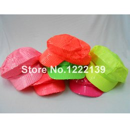 Wholesale Ladies Green Beret Hat - Wholesale-10pcs lot Fashion NEW Lady Shinning Neon Fluorescence Color Sequin Newsboy Cabbie Hat Visor Beret Cap