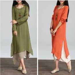 Wholesale Beige Long Sleeve Maxi Dress - Spring Autumn and Winter Dresses Loose Waist Long Sleeve Women Dress Plus Size Vintage Dress Casual Linen O Neck Floor Length Maxi Dress