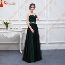 Wholesale sweetheart one shoulder dress - New Design Emerald Green Prom Dresses With Black Tulle Applique Beaded Long Formal Evening Gowns Real Sample High Quality