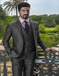 Wholesale Italian Wool Men Suit - Wholesale-Italian Suits Business Affairs Suit Wool Blend Groom Tuxedos Groomsman Suit Custom Made Man Suit (jacket+pants+vest)