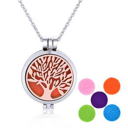 Wholesale Mosquito Green - Tree of life pendant essential oil diffuser necklace 35mm locket opening noctilucent mosquito repellent pendants with chain necklaces