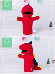 Wholesale Triangle Doll Toys - 161140 Triangle Dinosaur Fleece Doll Gift Plush Toys Finger Belly Early Childhood Education Toys Free Shipping