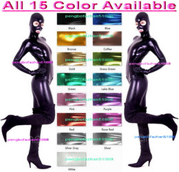 Wholesale Zentai Red Metallic - Unisex Bodysuit Costumes Outfit New 15 Color Shiny Lycra Metallic Suit Catsuit Costumes With Open Eyes and Mouth Halloween Cosplay Suit P097