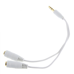 Wholesale Cable Jack Plate - White Black Gold Plated 3.5mm Male to 2x 3.5mm Female Earphone Headphone Splitter Cable Adapter Jack Male to 2 Female