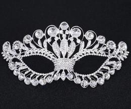 Diamantes de imitación de lujo online-Máscara de Cristal Tono de Plata Venetian Bridal Masquerade Rhinestone Crystal Eye Mask Halloween Disfraz Ball Party Mask FJ21