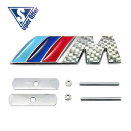 Wholesale Bmw M3 E46 Carbon - 3D Metal Sport M power    M Front Hood Grill Badge Emblem stickers screws carbon for M3 M5 X1 X3 X5 X6 E36 E39 E46 E30 E60 E92