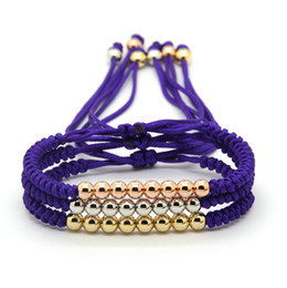 Wholesale string 6mm - Wholesale 10pcs lot Best Gift Fashion Jewelry 6mm Purple String Anil Arjandas Mix Colors Braiding Macrame Cz Beads Bracelet