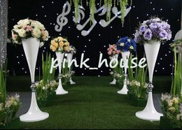 Wholesale Wedding Flower Table Stands - Elegant metal white color Tall wedding pillar flower stand,flower vase centerpieces for wedding table and aisle decoration