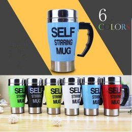 Wholesale Green Lids - 6 Colors 350ml Self Stirring Mug Stainless Steel Lazy Self Stirring Mug Auto Mixing Tea Coffee Cup Office Home Gifts CCA7120 60pcs