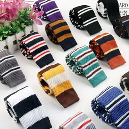 Wholesale Narrow Silk Ties - Men Knitting Neck Ties Knots tie Men's casual Solid kintted polyester Silk Narrow Design Flat-end Necktie Neckties 5.5cmx145cm