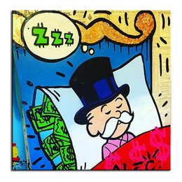Wholesale Alec monopoly sleeping idea huge new Graffiti art print on canvas for wall picture decor oil painting in living room wall art decor no frame