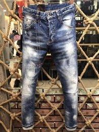 Wholesale Exclusive Jeans - 2017 slim fit exclusive Frazzle ripped Scratches Cotton stretch jeans Europe fashion italy brother new rider jeans