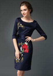Wholesale Cheongsam Vestido - 2015 Spring New Elegance Dark Blue Embroidered Prom Dress Gowns Women Summer Print Mini Cheongsam Dress vestido de festa curto